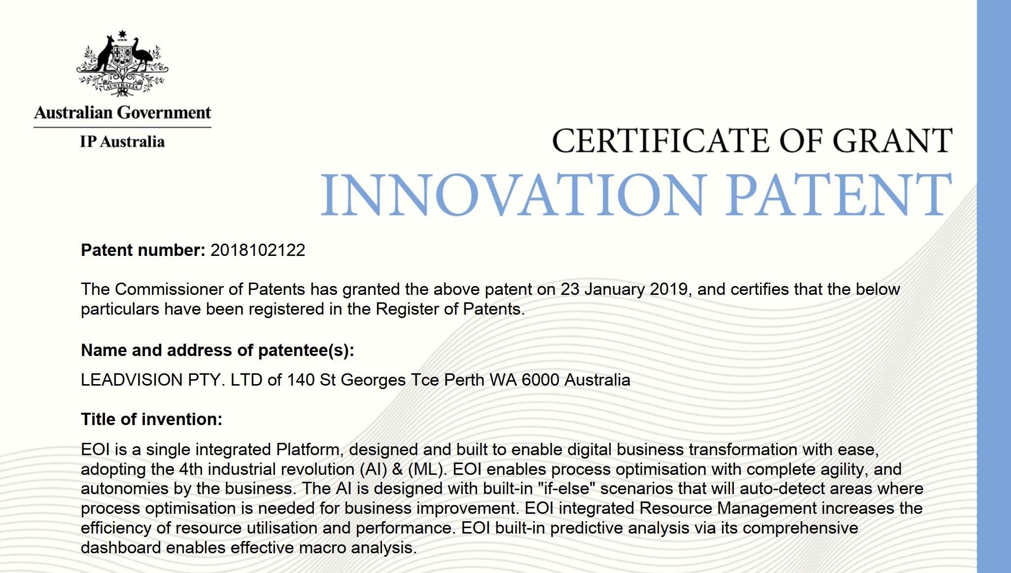 EOI Innovation Patent